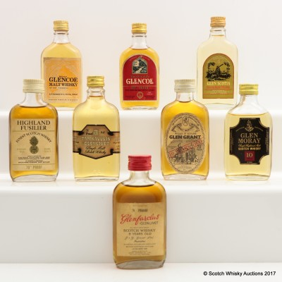 Assorted Minis 8 x 5cl Including Glenfarclas 8 Year Old 70° Proof