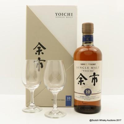 Nikka Yoichi 10 Year Old Gift Set With Glasses