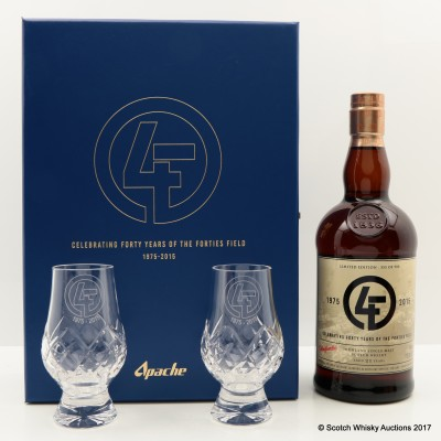 Glenfarclas 21 Year Old Apache Celebrating 40 Years of the Forties Field 1975-2015 With 2 Glasses