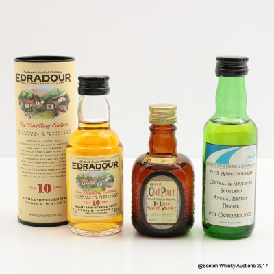 Assorted Minis 3 x 5cl Including Edradour 10 Year Old 5cl