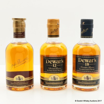 Dewar's Signature, 12 Year Old & 18 Year Old 3 x 20cl