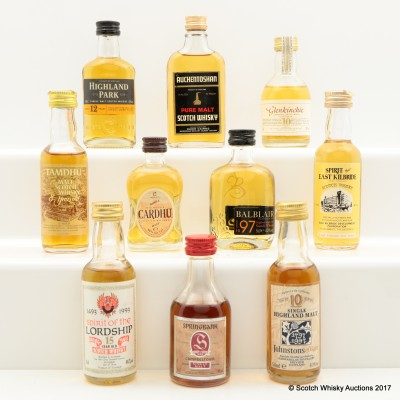 Assorted Minis 10 x 5cl Including Springbank 25 Year Old