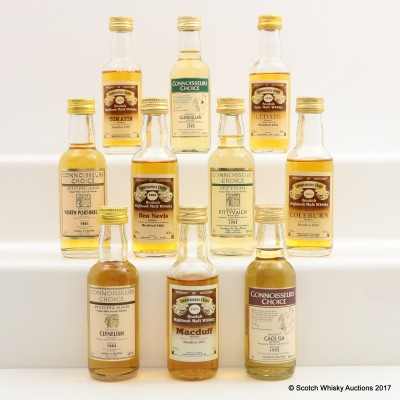 Assorted Connoisseurs Choice Minis 10 x 5cl Including Coleburn 1965