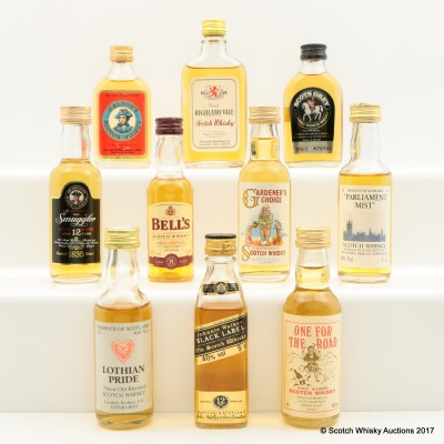 Assorted Minis 10 x 5cl Including Johnnie Walker 12 Year Old Black Label