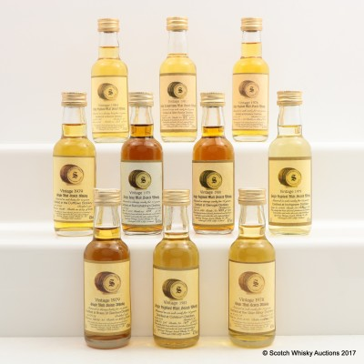 Assorted Signatory Minis 10 x 5cl Including Bunnahabhain 1979 17 Year Old