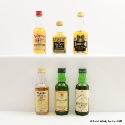 Assorted Minis 6 x 5cl Including Lagavulin 12 Year Old White Horse