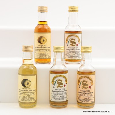 Assorted Signatory Minis 5 x 5cl Including Balvenie 1973 16 Year Old