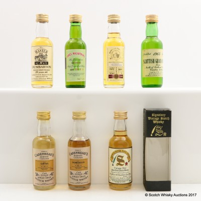 Assorted Single Grain Minis 7 x 5cl including Dumbarton 1961 29 Year Old Signatory 5cl