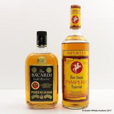 Bacardi Gold Reserve Puerto Rican Rum 75cl & Ron Anejo Pampero Especial 1L