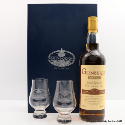 Glenburgie 1985 Commemorative Bottling and Two Branded Glasses