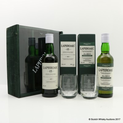 Laphroaig 10 Year Old Cask Strength & Laphroaig 15 Year Old Gift set with glasses 2 x 35cl