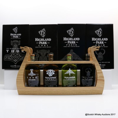 Highland Park Valhalla Collection 4 X 70CL With Longboat Display Stand