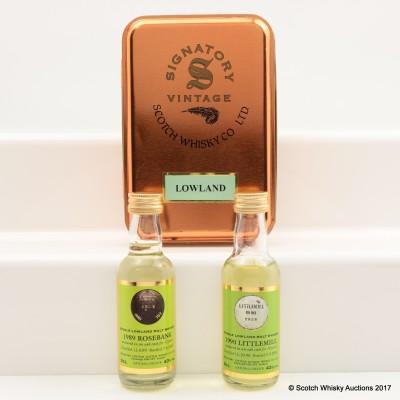 Signatory Lowland Minis in Tin 2 x 5cl including Rosebank 1989 12 Year Old Mini 5cl