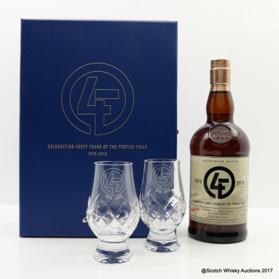 Glenfarclas 21 Year Old Apache Celebrating Forty Years Of The Forties Field 1975-2015 With 2 Glasses