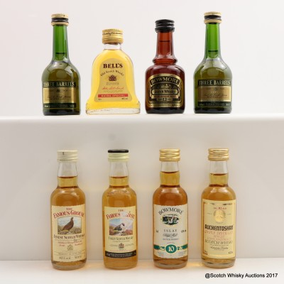 Assorted Minis 8 x 5cl Including Bowmore 12 Year Old