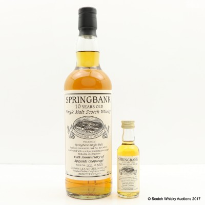 Springbank 10 Year Old 60th Anniversary Of Speyside Cooperage & Matching Mini