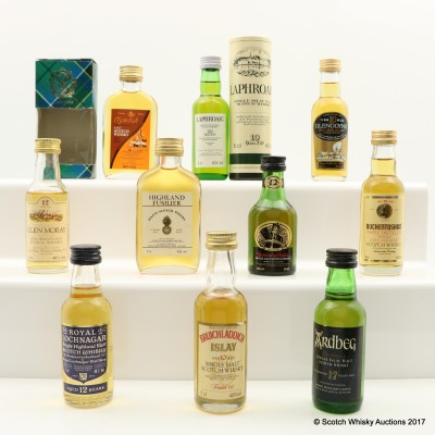Assorted Minis 10 x 5cl Including Clynelish 12 Year Old Mini 5cl