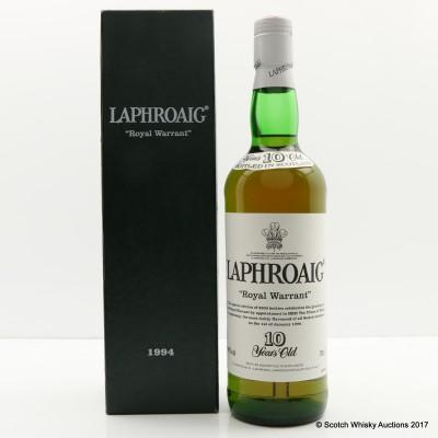 Laphroaig 10 Year Old Royal Warrant 1994 Release