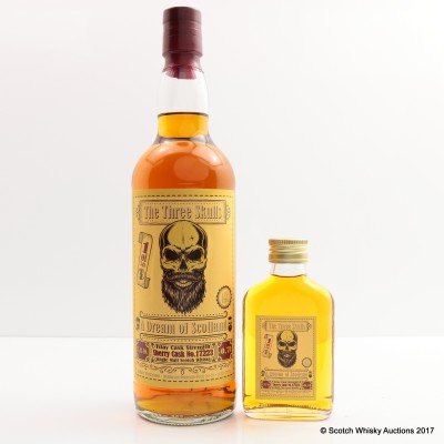 A Dream of Scotland Three Skulls Islay Cask Strength 70cl & Matching Mini 10cl