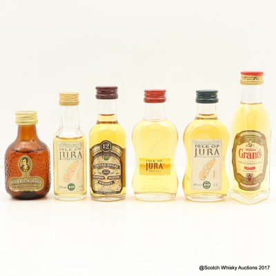 Assorted Minis x 5 including Jura 10 Year Old Mini 5cl