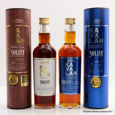 Kavalan Solist Sherry Cask 19.6cl & Kavalan Solist Vinho Barrique 19.6cl