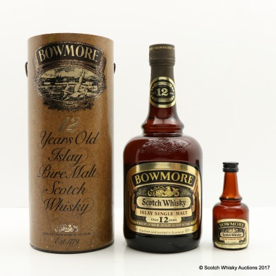 Bowmore 12 Year Old Dumpy Bottle 75cl & Matching Mini 5cl