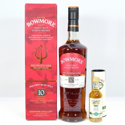 Bowmore Devil's Cask 10 Year Old Batch #1 & Bowmore 12 Year Old 5cl Mini