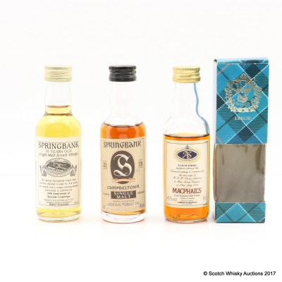 Assorted Miniatures 3 x 5cl Including Springbank 21 Year Old