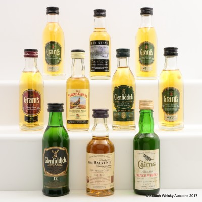 Assorted Minis 10 x 5cl Including Balvenie 14 Year Old Caribbean Cask Mini 5cl