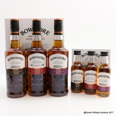 Bowmore 12 Year Old, 15 Year Old Darkest & 18 Year Old 3 x 20cl with Matching Minis 3 x 5cl