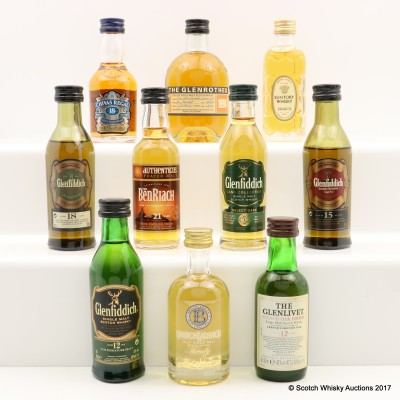 Assorted Minis x 10 Including Bruichladdich 20 Year Old 5cl