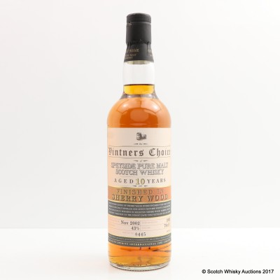 Speyside 1992 10 Year Old Sherry Finish Vintners Choice