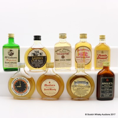 Assorted Minis 9 x 5cl Including Robert Watson Of Aberdeen Imperial Mini 5cl
