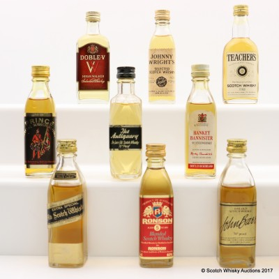Assorted Minis 10 x 5cl Including John Bass Fine Old Scotch Whisky Mini 5cl