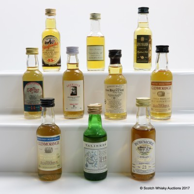 Assorted Minis 10 x 5cl Including Bowmore 21 Year Old