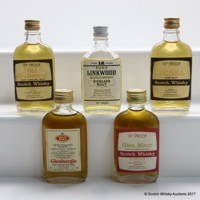 Assorted Minis x 5 Including Linkwood 12 Year Old