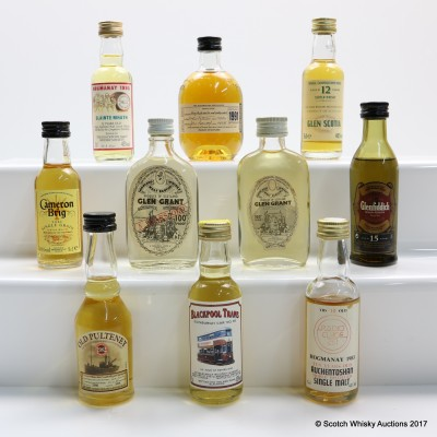 Assorted Minis x 10 Including Old Pulteney 1982 5cl