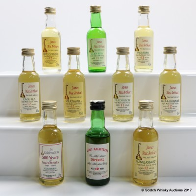 Assorted James McArthur's Minis 10 x 5cl Including Caol Ila 1977 17 Year Old