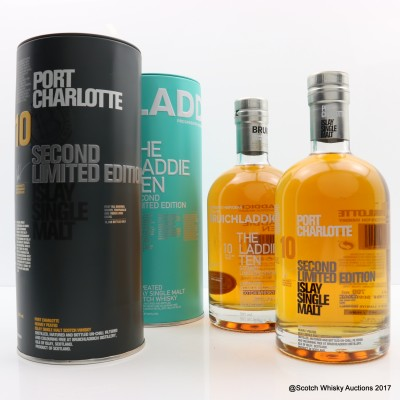 Port Charlotte 10 Year Old Second Edition & Bruichladdich The Laddie Ten 10 year Old Second Edition