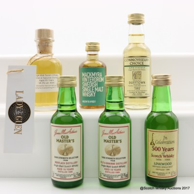 Assorted Mini's 6 x 5cl Including Speyside 1996 20 Year Old Lady Of The Glen