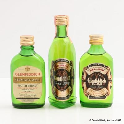 Assorted Glenfiddich Minis 3 x 5cl Including Glenfiddich Straight Malt Mini 1 2/3 Fl Oz