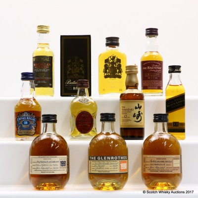 Assorted Minis x 10 including Glenrothes 1991 Mini 10cl