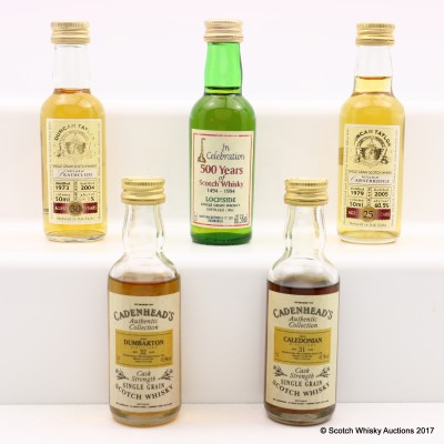 Assorted Grain Whisky Minis 5 x 5cl Including Dumbarton 1962 32 Year Old Cadenheads