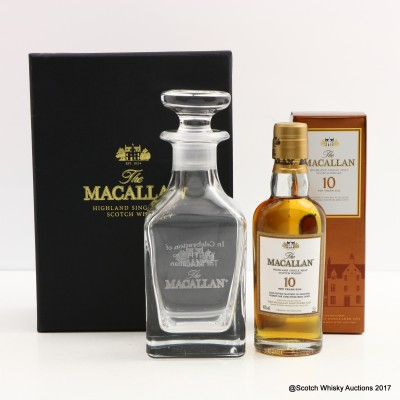 Macallan 10 Year Old Mini 5cl & Crystal Decanter Set