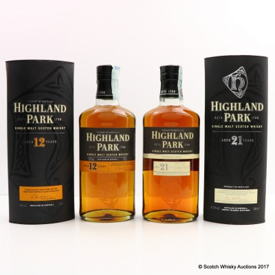 Highland Park 21 Year Old & 12 Year Old 2 x 70cl