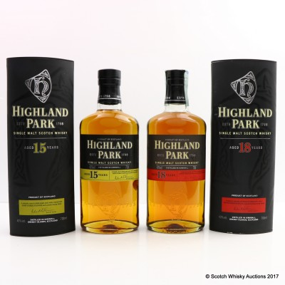 Highland Park 18 Year Old & 15 Year Old 2 x 70cl