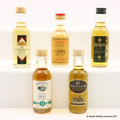 Assorted Minis 5 x 5cl Including Bowmore 10 Year Old Mini 5cl