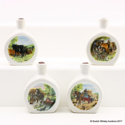 Assorted Rutherford's Ceramic Decanter Minis 4 x 5cl