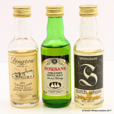 Assorted Minis 3 x 5cl Including Rosebank 8 Year Old Mini 5cl