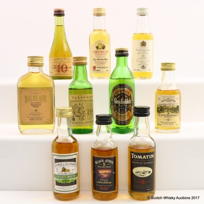 Assorted Minis 10 x 5cl Including Balblair 10 Year Old Mini 5cl
